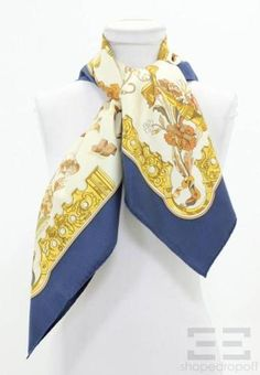 "Hermes Blue Gold Silk Cathy Latham ""Copeaux"" 90cm Square Scarf | eBay"