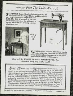 1926-28 Song Sparrow Trade Card Singer Sewing Machine Song Bird Series Ridgway - back