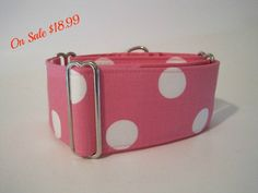 2 inch Pink Polka Dot Martingale Collar, Pink, White, Polka Dots, Greyhound Collar, Dog Collar, Greyhound Martingale, Wide Dog Collar. $18.99, via Etsy.
