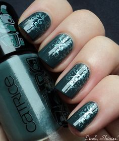 Catrice Spruced Up (2 coats). I stamped it with BM plate 225 and China Glaze Adore
