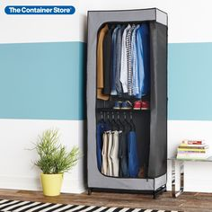 """Utilize your vertical space for storage! Our Double Hang Clothes Closet requires just 30"""" of floor space to provide up to 60"""" of space for men's or women's short hanging garments. It's stylish enough to leave out permanently in your home or it can be utilized for storage in a garage. The unique front panel features a 2-way zipper and can be secured to the side of the closet to remain open for easy access. Closet Storage, Closet Organization, Space Saving Hangers, Container Store, Floor Space, Easy Access, Drawers, Garage, Garages"""
