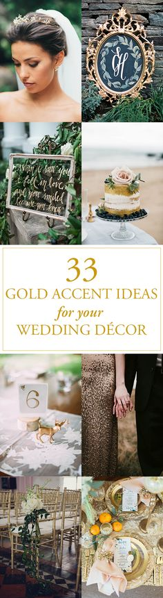 A gold accent is often the answer to making wedding décor shine. From bridal accessories to ceremony chairs to tableware, gold always adds a touch of unexpected elegance. Gold Wedding Theme, Wedding Themes, Wedding Blog, Fall Wedding, Our Wedding, Wedding Cake, Wedding Ideas, Wedding Dresses, Wedding Accessories For Bride