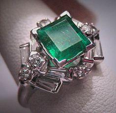 Antique Emerald Diamond Ring Vintage Art Deco Wedding on Etsy, $4,850.00