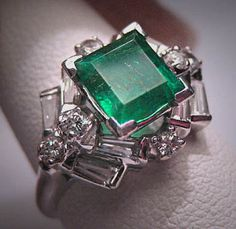 Antique Emerald Diamond Ring Vintage Art Deco
