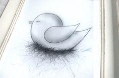 Wall Poster Bird-baby art-drawing for van TheBabyRose op Etsy