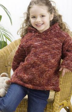 Easy child's hoodie knitting pattern for sizes 4 to 10 years.