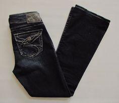 Silver Jeans 26 30 Suki Surplus Boot Cut Dark Thick Stitch Flap Pocket Denim #SilverJeans #BootCut