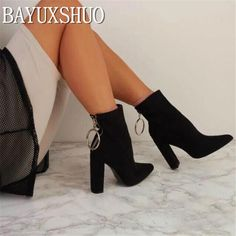 1f88de0501cd BAYUXSHUO New Women Ankle Boots Roman High Heels Square Heel Booties  Fashion Brand Design Ladies Party Shoes Woman White Black