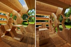 the honeycomb-like wooden frame houses a variety of dwellings for bees and a flexible multi-use pavilion for humans, promoting the peaceful coexistence of species.