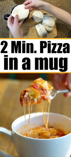 Individual pizza made with biscuits in a mug is here! so easy to make this my kids do it themselves pizza mugrecipe pizzamug mugpizza biscuitpizza these recipes are perfect to start your kids out in the kitchen broken down by age! Mug Recipes, Fun Easy Recipes, Dinner Recipes, Cooking Recipes, Healthy Recipes, Pizza Recipes, Healthy Pizza, Healthy Food, Pizza