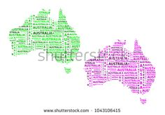 Sketch Australia letter text continent, Australia word - in the shape of the continent, Map of continent Australia - green and purple vector illustration Map Of Continents, Green And Purple, Sketch, Australia, Shape, Stock Photos, Lettering, Illustration, Sketch Drawing