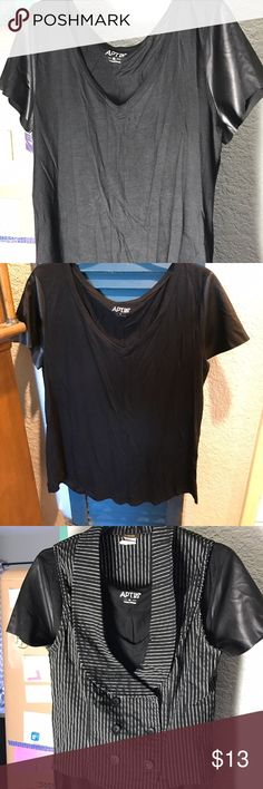 Apt. 9 Black Tee Black tee with leather look short sleeves and a v- neck. You already know it goes with everything. Good used condition. Apt. 9 Tops Tees - Short Sleeve