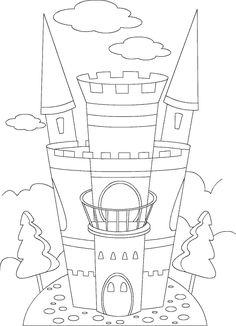 Amazing Medieval Castle Coloring Page : Kids Play Color Castle Coloring Page, Colouring Pages, Coloring Pages For Kids, Coloring Sheets, Coloring Books, Fairy Tale Theme, Fairy Tales, Chateau Fort Moyen Age, Castle Project