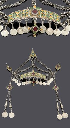 Morocco - Western Anti Atlas, Tiznit - Tafraout, Ida Ou Semlal | Headdress (taounza); silver, enamel, red stone cabochons, and coins dating 1299H / 1881 - 1321H / 1903 | Sold ~ (May '15)