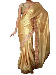 Golden satin saree with cutowork border
