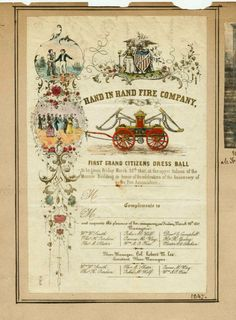 1847 dress ball invitation Hand in Hand Fire Co.