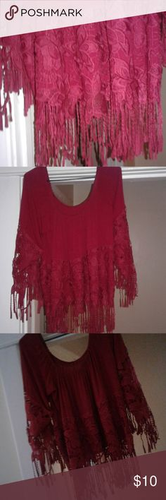 Perfect for a date night Burgundy crop top with fringe and lace cleo Tops Crop Tops