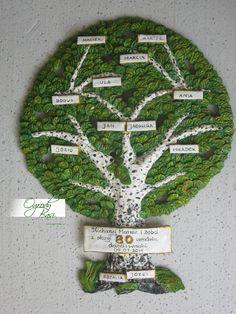 Prezent dla babci lub  dziadka na 80 urodziny, ręcznie wykonane drzewo genealogiczne w formie brzozy www.ogrodybasi.pl #prezenty #na #25 #30 #40 #50 #60 #rocznica #slub #jubileusz #gody #urodziny