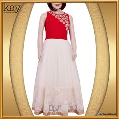 "Red Riding hood! Channel the ""Red Riding hood"" vibe in our elegant evening gown in sweet shades of white and red with gold woven flowers near the neck line and white netted flowing gown with golden border giving it a perfect end! http://www.kayfashions.in/#!/ #fashion #indian #weddings #bridal #lehenga #ghagra #anarkali #salwar #designer #ethnic #boutique #chennai #shopping #triplicane #dress #clothes #traditional #saree #sari #silksaree"