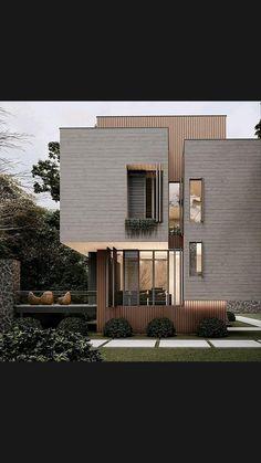 Minimal House Design, Modern Small House Design, Modern Exterior House Designs, House Front Design, Exterior Design, Small Modern Home, Modern Style Homes, Exterior Colors, Modern House Facades