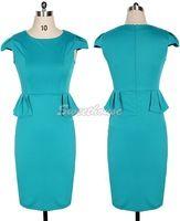 Nueva llegada 2014 de la Mujer de Pinup con cinturón Partido Peplum elegante usar para trabajar vaina Cap manga Vestido lápiz SV16 CB030239