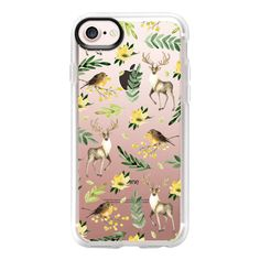 Deer and birds. Watercolor - iPhone 7 Case And Cover ($40) ❤ liked on Polyvore featuring accessories, tech accessories, iphone case, apple iphone case, clear iphone case, iphone cover case and iphone cases