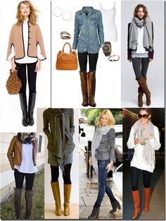 Sweaters, scarfs, leggings, and boots... Some of these outfits are really cute.
