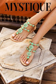 Green Leather Jeweled Flat Sandals 2015