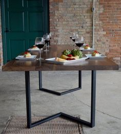 """Irvine Dining Table - Shown in 96x40 Textured Black Frame / Solid 1 3/4"""" W..."""