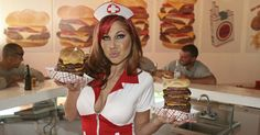 The heart attack grill . Restaurant in Las Vegas where the waitresses dress like sexy nurses!!