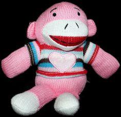 """Sock Monkey Dan Dee Girl Heart Pink Stripes Plush Knit Soft Toy Animal 9"""" Love #DanDee"""