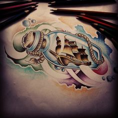 Custom tattoo design [Ship in a bottle] by FingerPrint1404 on deviantART