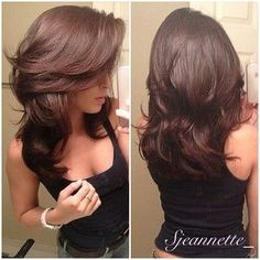 Love the volume, chestnut brown hair color and length us long layers