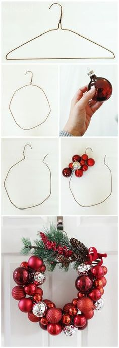 24 Ideas Originales Y Creativas Para Hacer Coronas Navideñas - Ideas Verdes usando perchas Christmas Ornament Wreath, Noel Christmas, Christmas 2019, Simple Christmas, Christmas Wreaths, Beautiful Christmas, Advent Wreath, Diy Ornaments, Christmas Outfits
