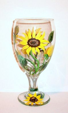 Sunflowers Hand Painted Tea Glass 1 - 16 oz. Ice Tea Glass Mothers Day, Mother of the Bride Bridesmaid Gifts Birthday Bachelorrette Party by SharonsCustomArtwork on Etsy
