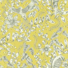 Kayyam (W6495-01) - Osborne & Little Wallpapers - Exotic birds and foliage all over design, drawn in a sketch like black and white on chartreuse.  Wide width. Please request sample for true colour match.