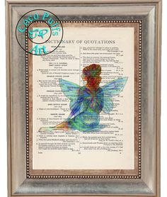 Fantasy Blue & Green Winged Fairy Art 2 Print Special - Vintage Dictionary Page Art Print Upcycled Page Print,Note Cards Print, Fairy Print by CocoPuffsArt on Etsy