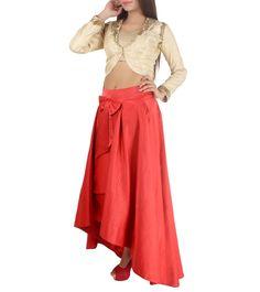 Beige & Red Satin Embroidered Jacket With Skirt  Product details:   Colour: Red,   Fabric: Satin, Brocade,   Type Of Work: Embroidered.    View 4  #nidhikejriwal #jalwa #jalwanidhi #indiarunwayweek #runwayfashion #fashionshow #fashiondesigner #fashion #fashionstyle #womenfashion #fashionweek #follow4updates #fashionlover #fashiongeek #designernew #newcollection #staywithus