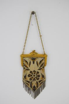 Art Deco Brown & White Mesh Purse