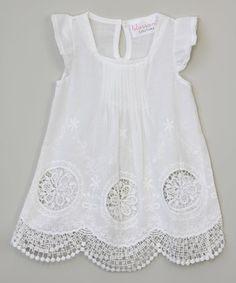 White Triple-Flower Angel-Sleeve Dress - Girls
