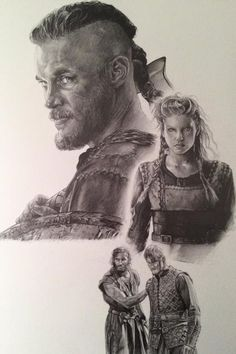 Gorgeous fanart of Ragnar, Lagertha, Rollo, and Bjorn