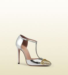 studded metallic leather t-strap pump