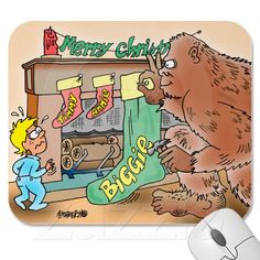 BIGFOOT CHRISTMAS STOCKING CARTOON MOUSEPAD