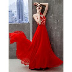 TS+Couture®+Prom++Formal+Evening+Dress+A-line+High+Neck+Floor-length+Chiffon+with+Appliques+–+NZD+$+161.60