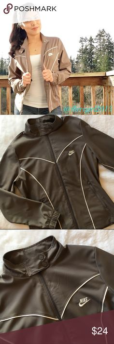 Nike Jacket Lightweight track jacket from Nike. Single zipper with two sliders. Zip up or zip down or halfway!  Has double snap buttons at the collar with embossed Nike logo. Size small, true to size. Color is taupe. Excellent condition!! Nike Jackets & Coats