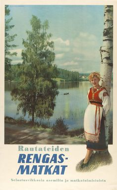 See Finland by Circular Tour - Finnish State Railways - Photo: Fred Runeberg, 1960 Illustrations Vintage, Finland Travel, Railway Posters, Voyage Europe, Poster Pictures, Large Photos, Advertising Poster, Old Postcards, Vintage Travel Posters