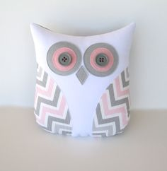 pink and grey chevron owl pillow, grey pink nursery, owl pillow for nursery, decorative pillow, Easter gift by whimsysweetwhimsy