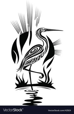 Used this image in one of my Pyrography projects. Black heron vector on VectorStock® Arte Tribal, Tribal Art, Stencil Patterns, Stencil Art, Stenciling, Native Art, Native American Art, Tribal Bird Tattoos, Tattoo Bird