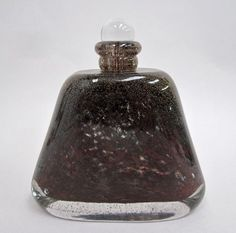 Maurice Marinot (1882-1960), Acid Sculpted Glass Bottle and Stopper with Internal Inclusions.