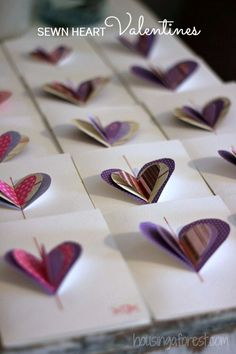 Sewn Heart Valentines ~ DIY Valentines card kids can make